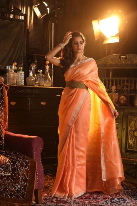 Orange Colour Fine Quality Pure Silk Linen Saree