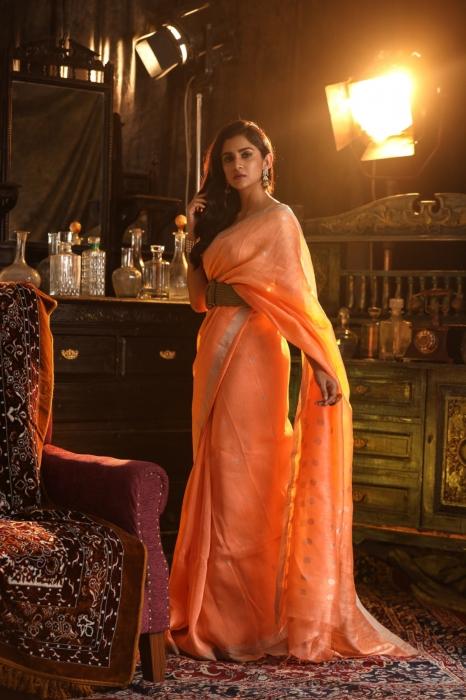 Orange Colour Fine Quality Pure Silk Linen Saree 1
