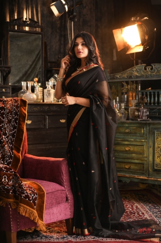 Pure Silk Blended With Soft Cotton  Handspun Black Colour Saree 1