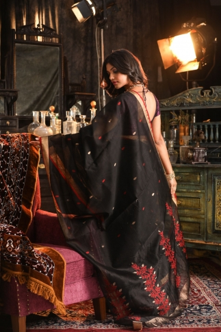 Pure Silk Blended With Soft Cotton  Handspun Black Colour Saree 2