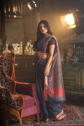 Pure Silk Blended With Soft Cotton  Handspun Saree 2