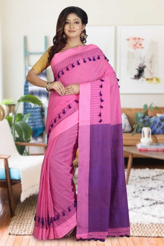 Pink and Purple Hand Woven Pure Cotton Saree