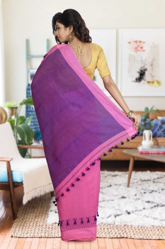 Pink and Purple Hand Woven Pure Cotton Saree 1