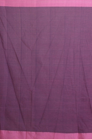Pink and Purple Hand Woven Pure Cotton Saree 2