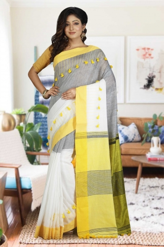 Yellow and White Hand Woven Pure Cotton Saree