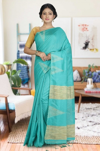See Green with Ghicha Work Hand Woven Blended Cotton Saree