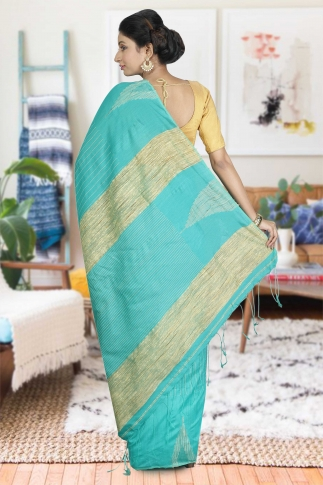 See Green with Ghicha Work Hand Woven Blended Cotton Saree 1