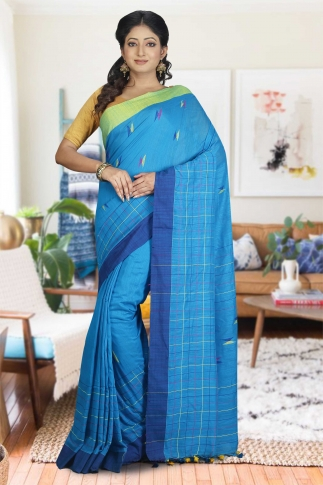 Turquoise Blue with Green and Blue Border Hand Woven Pure Cotton Saree