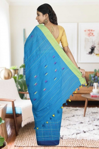 Turquoise Blue with Green and Blue Border Hand Woven Pure Cotton Saree 1