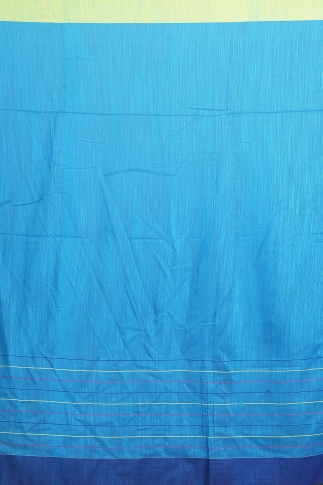 Turquoise Blue with Green and Blue Border Hand Woven Pure Cotton Saree 2