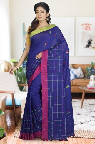 Blue with Pink and Green Border Hand Woven Pure Cotton Saree