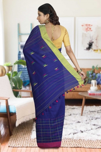 Blue with Pink and Green Border Hand Woven Pure Cotton Saree 1