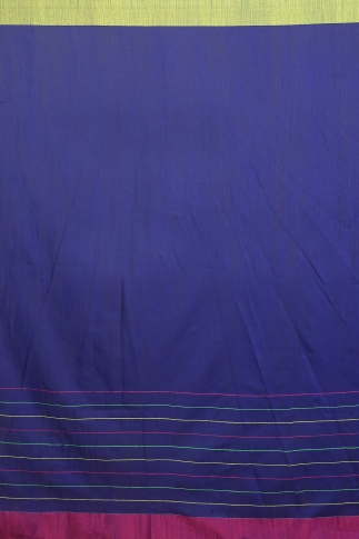 Blue with Pink and Green Border Hand Woven Pure Cotton Saree 2