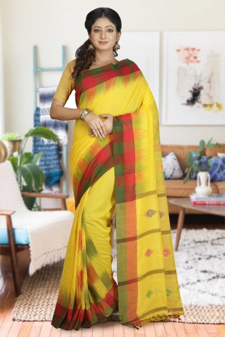 Yellow with green and Red Border Hand Woven Pure Cotton Saree