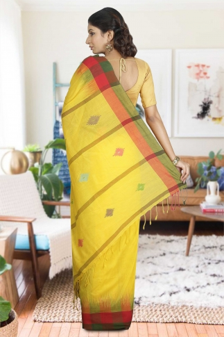 Yellow with green and Red Border Hand Woven Pure Cotton Saree 1