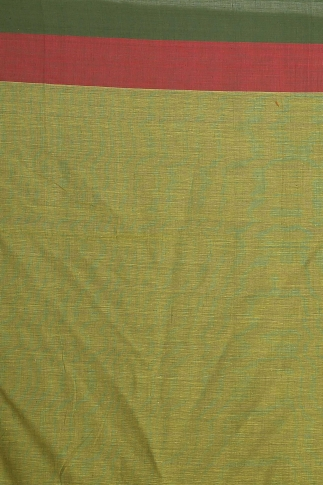 Yellow with green and Red Border Hand Woven Pure Cotton Saree 2