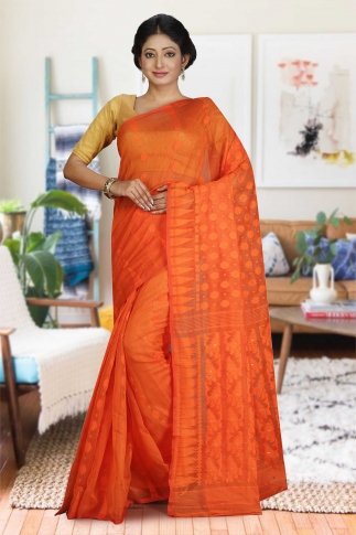 Orange Hand Woven Dhakai Jamdani saree without Blouse