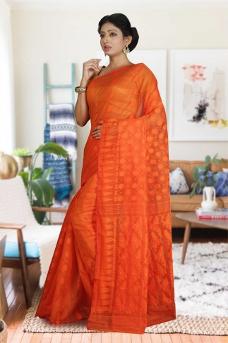 Orange Hand Woven Dhakai Jamdani saree without Blouse 1