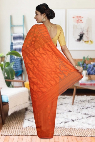 Orange Hand Woven Dhakai Jamdani saree without Blouse 2