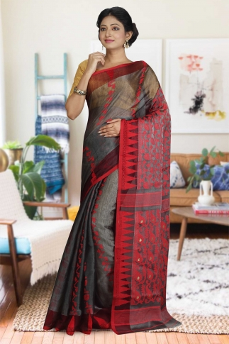 Ash and Red Hand Woven Dhakai Jamdani saree without Blouse