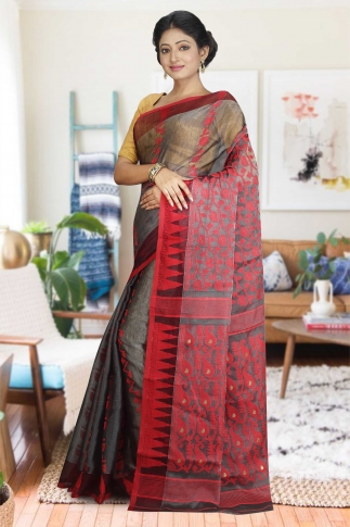 Ash and Red Hand Woven Dhakai Jamdani saree without Blouse 1