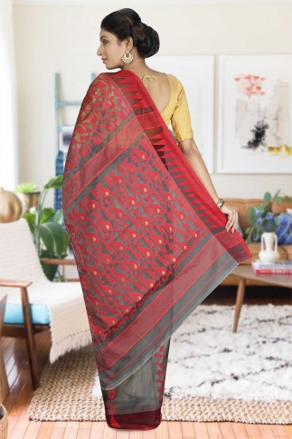 Ash and Red Hand Woven Dhakai Jamdani saree without Blouse 2