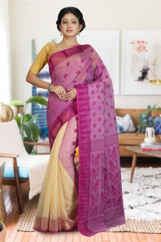 Beige and Violet Hand Woven Dhakai Jamdani saree without Blouse