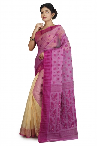 Beige and Violet Hand Woven Dhakai Jamdani saree without Blouse 1