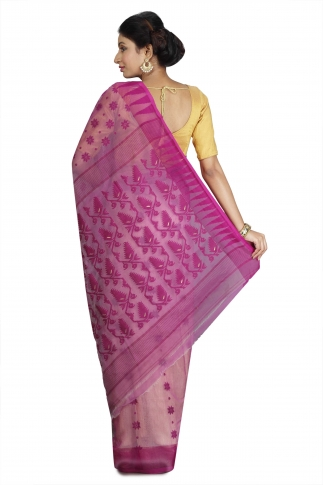 Beige and Violet Hand Woven Dhakai Jamdani saree without Blouse 2