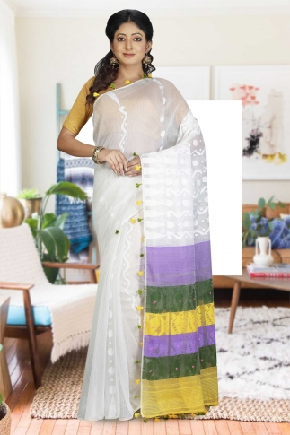 White Hand Woven Dhakai Jamdani saree without Blouse
