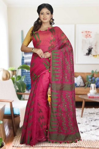 Rani and Green Hand Woven Dhakai Jamdani saree without Blouse