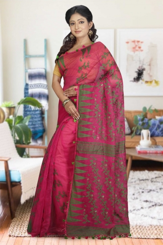 Rani and Green Hand Woven Dhakai Jamdani saree without Blouse 1