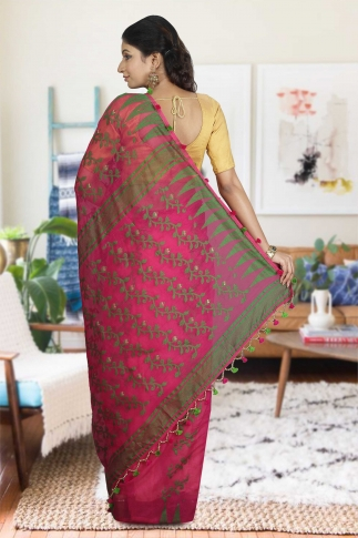 Rani and Green Hand Woven Dhakai Jamdani saree without Blouse 2