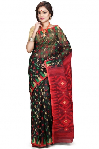 Black Red and Green Hand Woven Dhakai Jamdani saree without Blouse