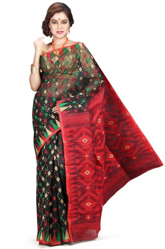 Black Red and Green Hand Woven Dhakai Jamdani saree without Blouse 1