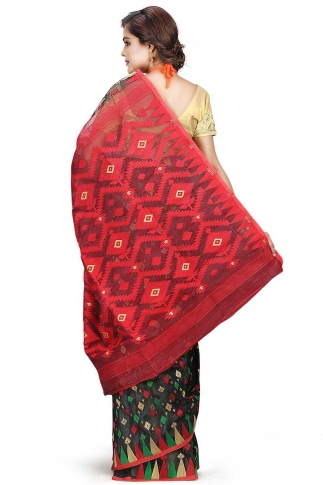 Black Red and Green Hand Woven Dhakai Jamdani saree without Blouse 2