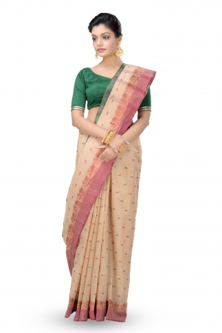 Beige Colour Bengal Handwoven Tant Saree With Out Blouse