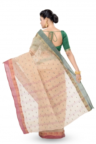 Beige Colour Bengal Handwoven Tant Saree With Out Blouse 2