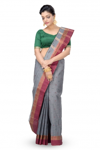 Grey Colour Bengal Handwoven Tant Saree without Blouse