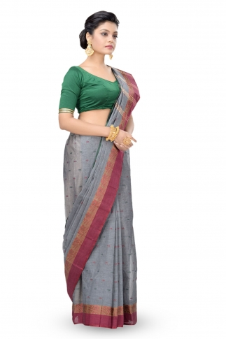 Grey Colour Bengal Handwoven Tant Saree without Blouse 1