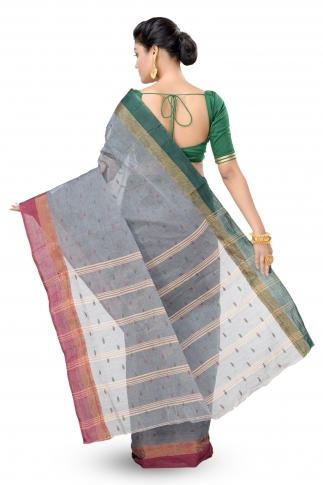 Grey Colour Bengal Handwoven Tant Saree without Blouse 2