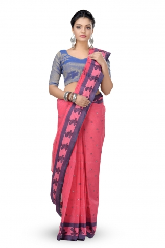 Peach Colour Bengal Handwoven Tant Saree With Out Blouse