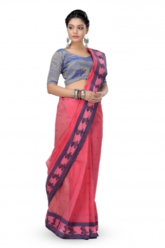 Peach Colour Bengal Handwoven Tant Saree With Out Blouse 1