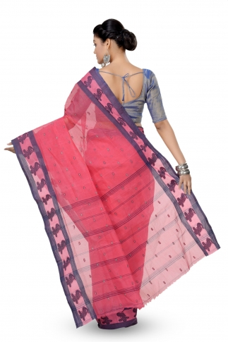 Peach Colour Bengal Handwoven Tant Saree With Out Blouse 2