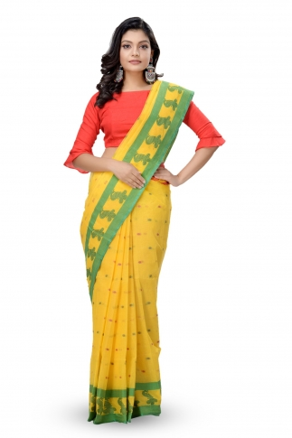 Yellow with Green & Red Border Bengal Handwoven Tant Saree With Out Blouse