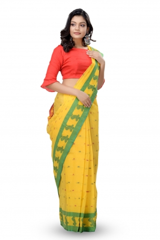 Yellow with Green & Red Border Bengal Handwoven Tant Saree With Out Blouse 1