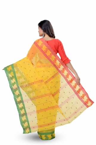 Yellow with Green & Red Border Bengal Handwoven Tant Saree With Out Blouse 2