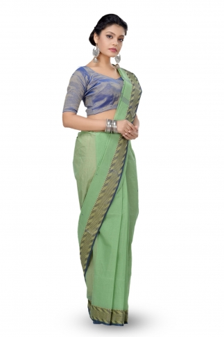 Olive Green Colour Bengal Handwoven Tant Saree With Out Blouse 1