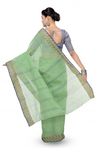 Olive Green Colour Bengal Handwoven Tant Saree With Out Blouse 2
