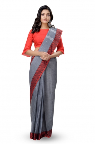 Grey With Red Colour Border Bengal Handwoven Tant Saree With Out Blouse